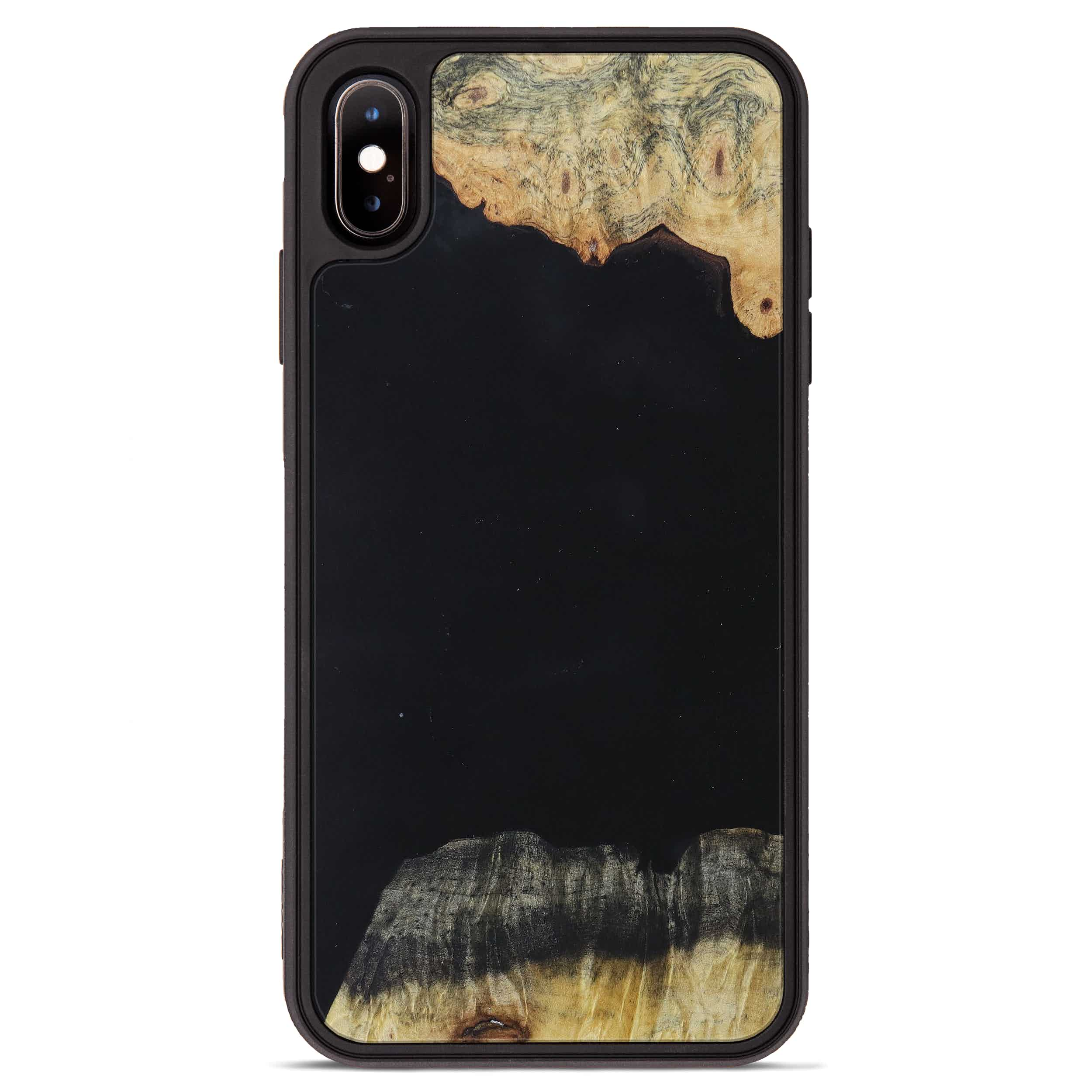 iPhone Xs Max Wood+Resin Phone Case - Jennine (Pure Black, 395891)