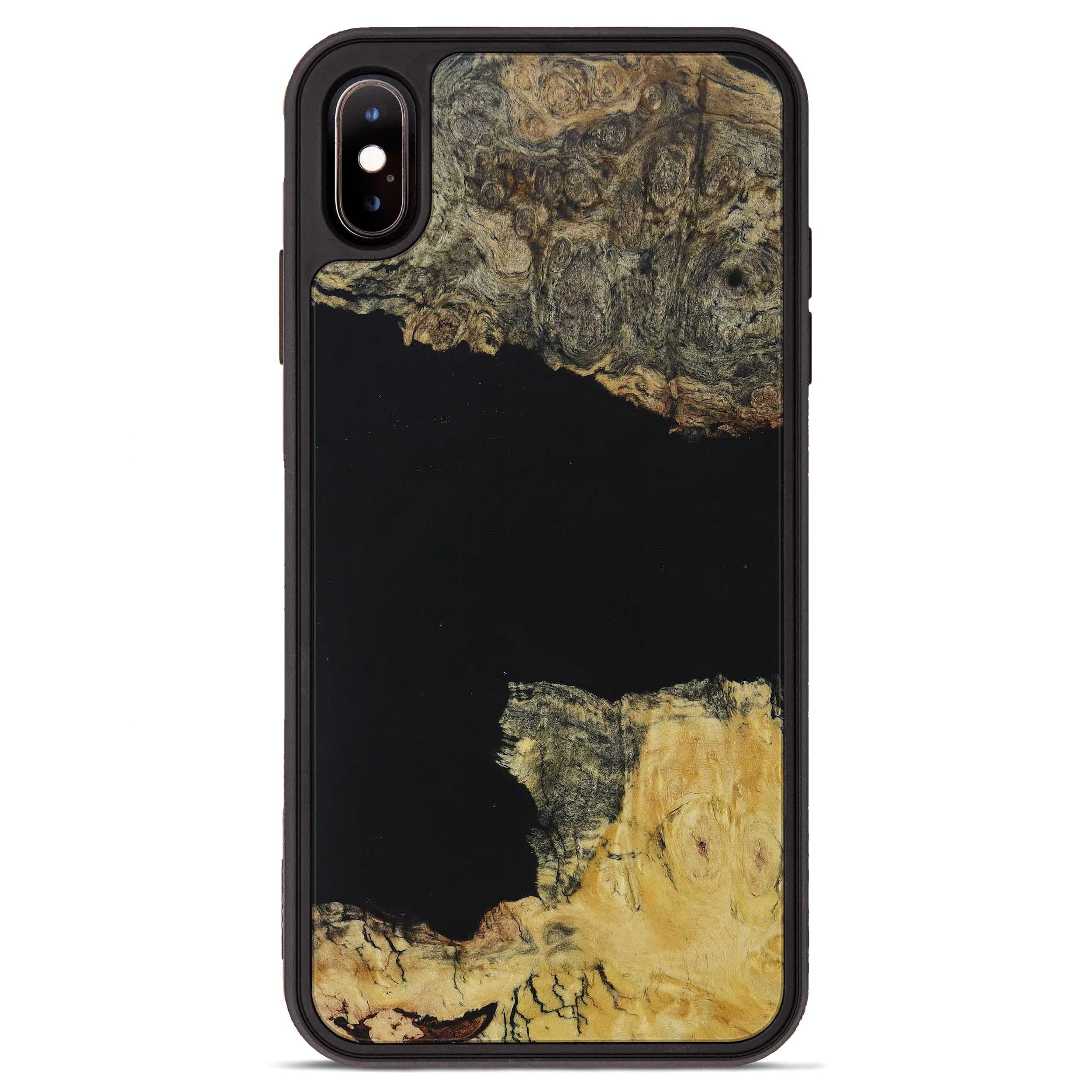 iPhone Xs Max Wood+Resin Phone Case - Dedie (Pure Black, 395898)