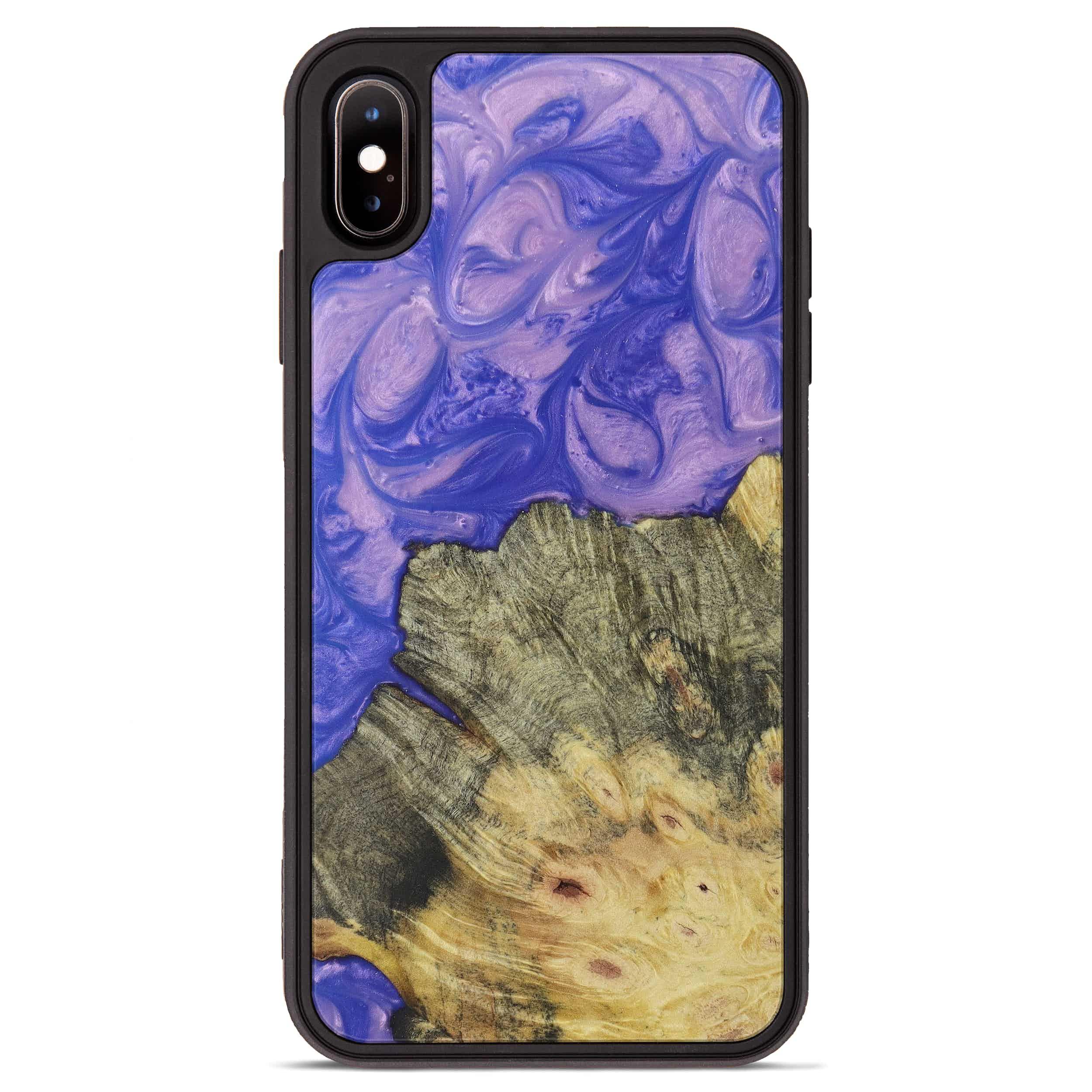 iPhone Xs Max Wood+Resin Phone Case - Peta (Purple, 395902)