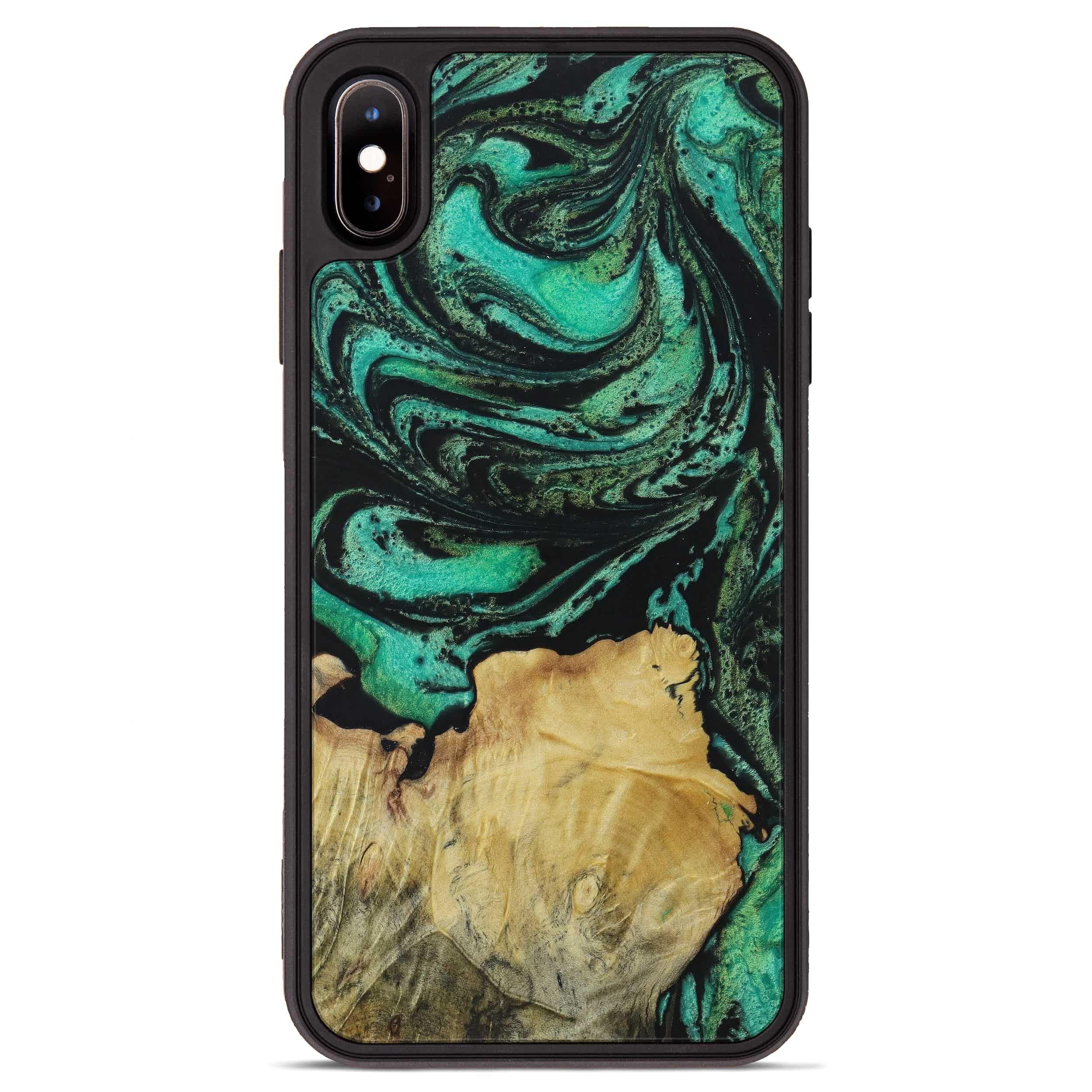 iPhone Xs Max Wood+Resin Phone Case - Miro (Dark Green, 395950)