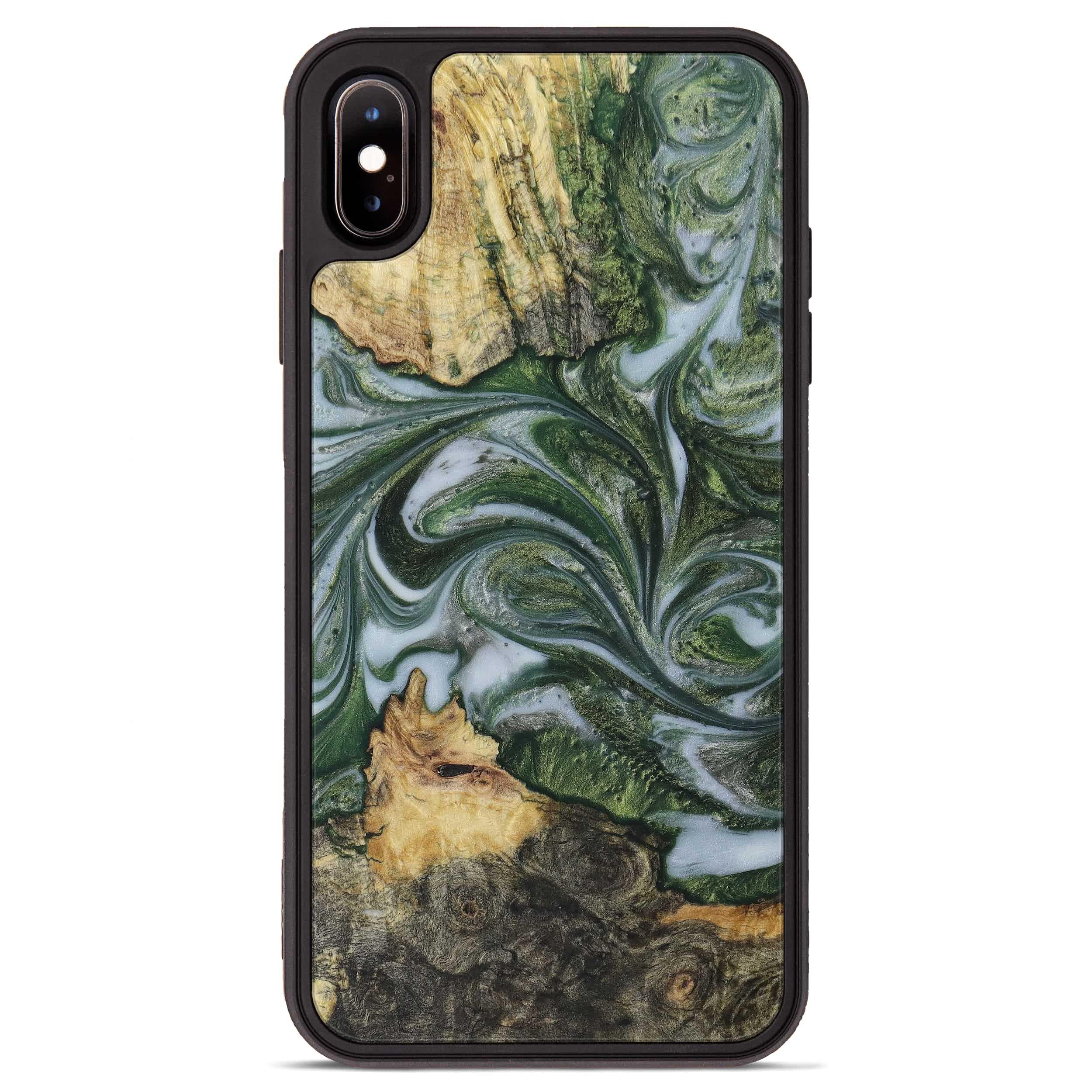 iPhone Xs Max Wood+Resin Phone Case - Barbie (Dark Green, 396000)