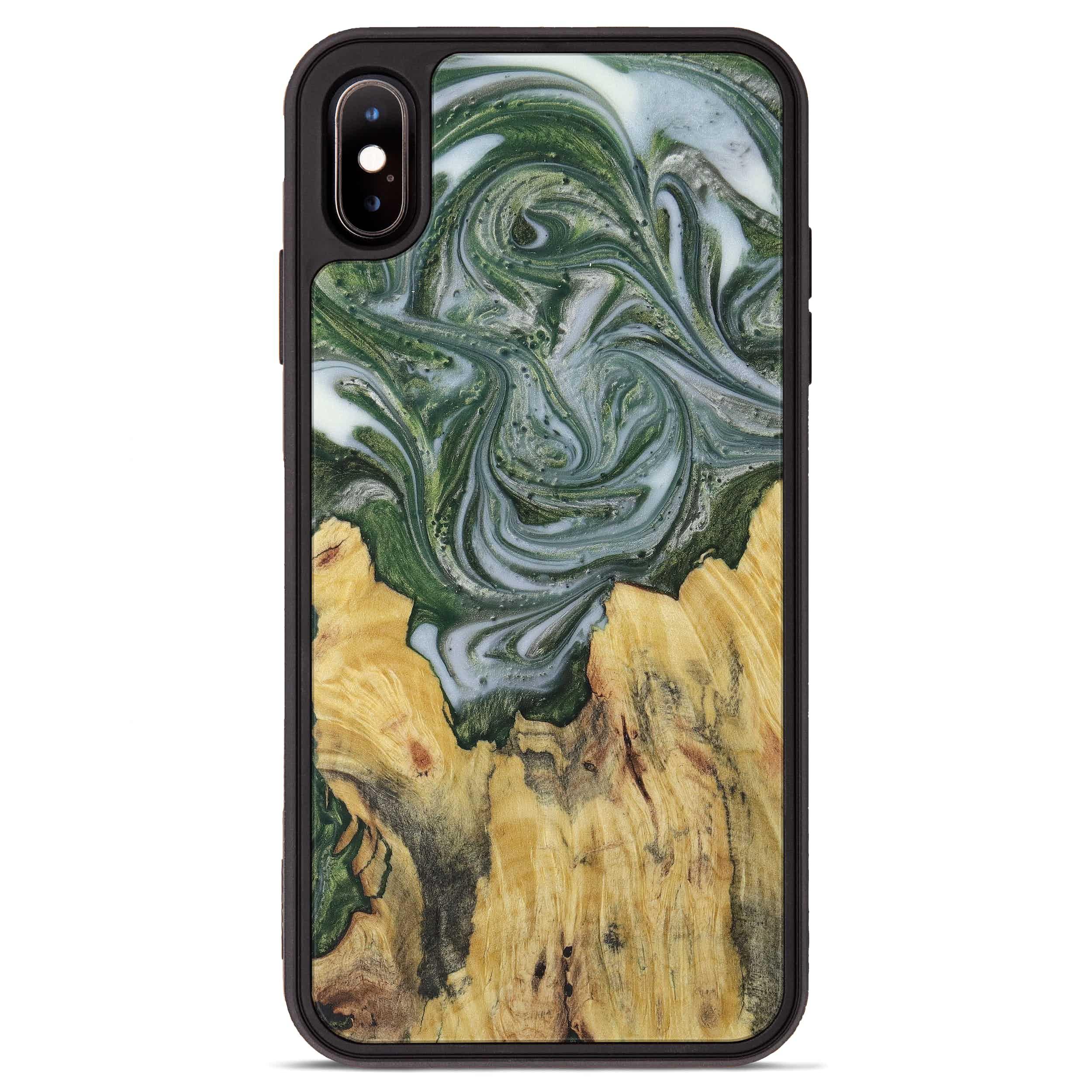 iPhone Xs Max Wood+Resin Phone Case - Armando (Dark Green, 396001)