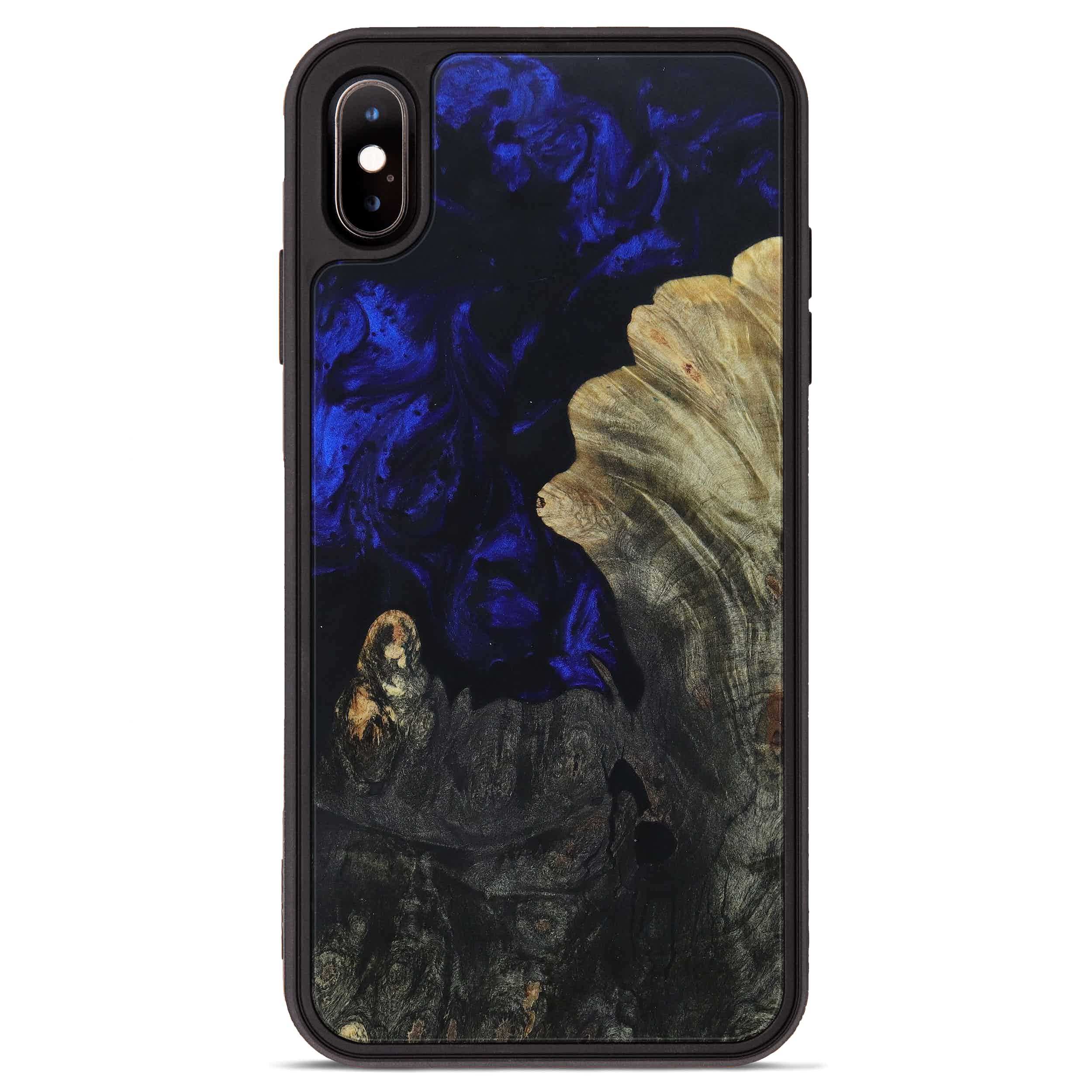 iPhone Xs Max Wood+Resin Phone Case - Todd (Dark Blue, 396131)