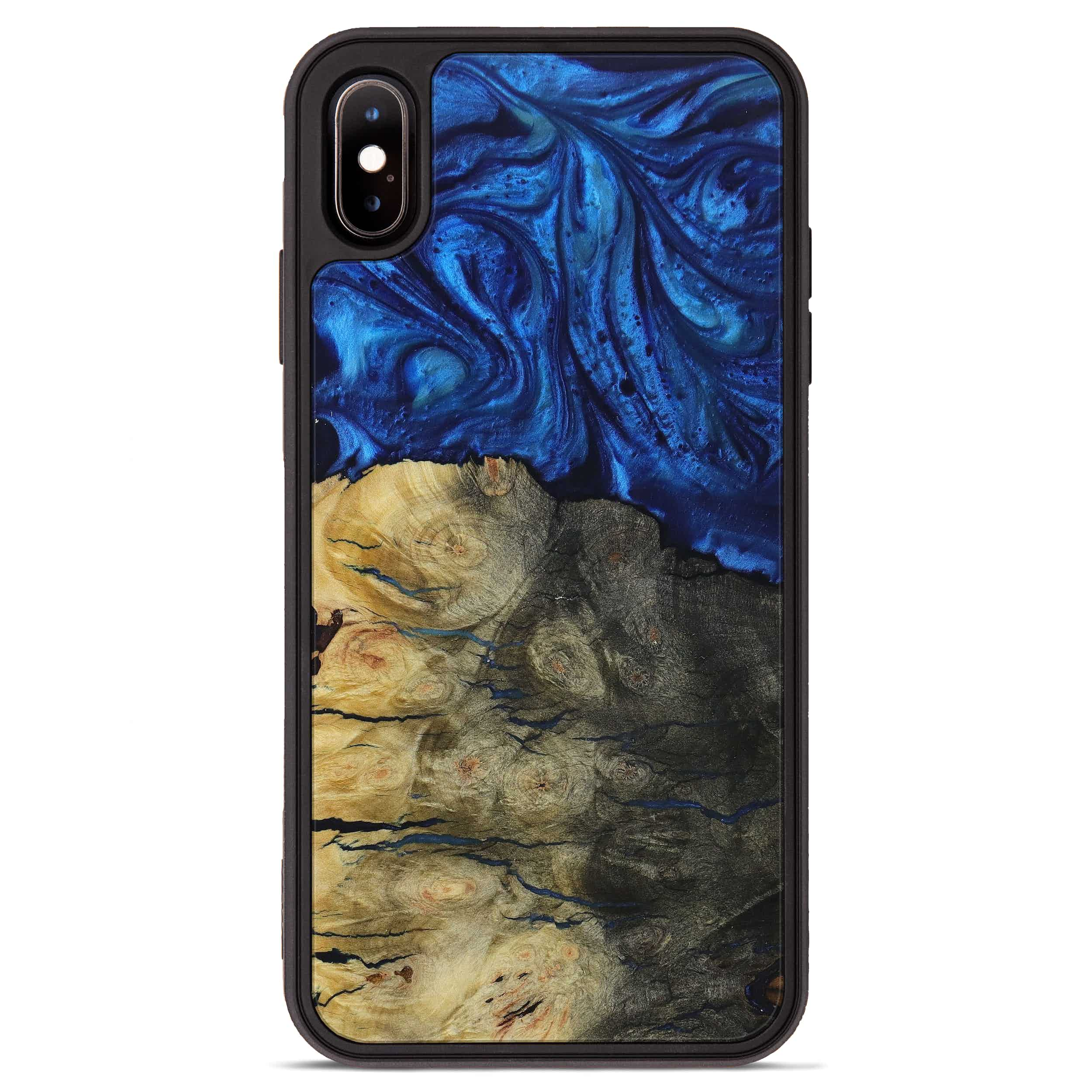 iPhone Xs Max Wood+Resin Phone Case - Feliza (Dark Blue, 397299)