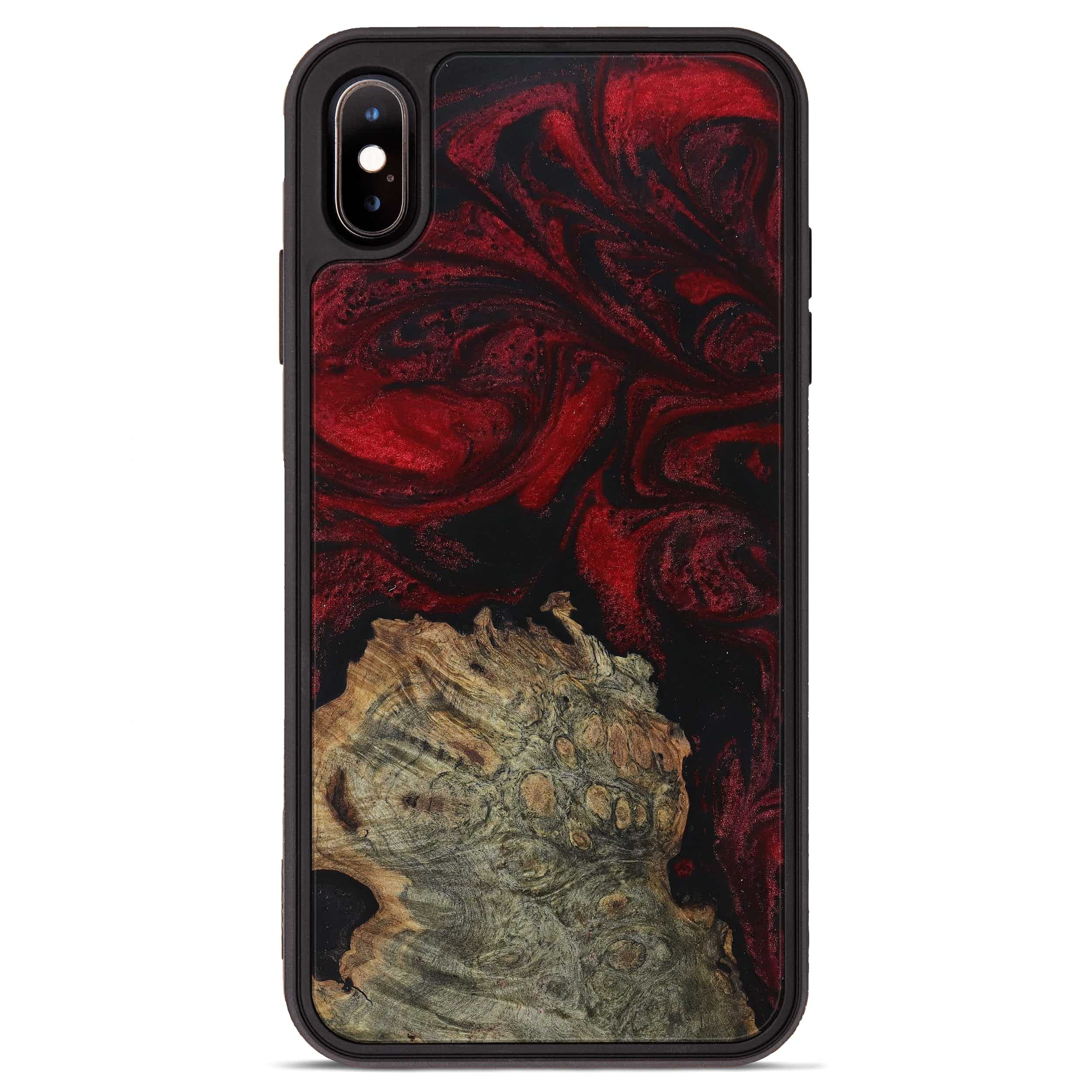 iPhone Xs Max Wood+Resin Phone Case - Anny (Dark Red, 397326)