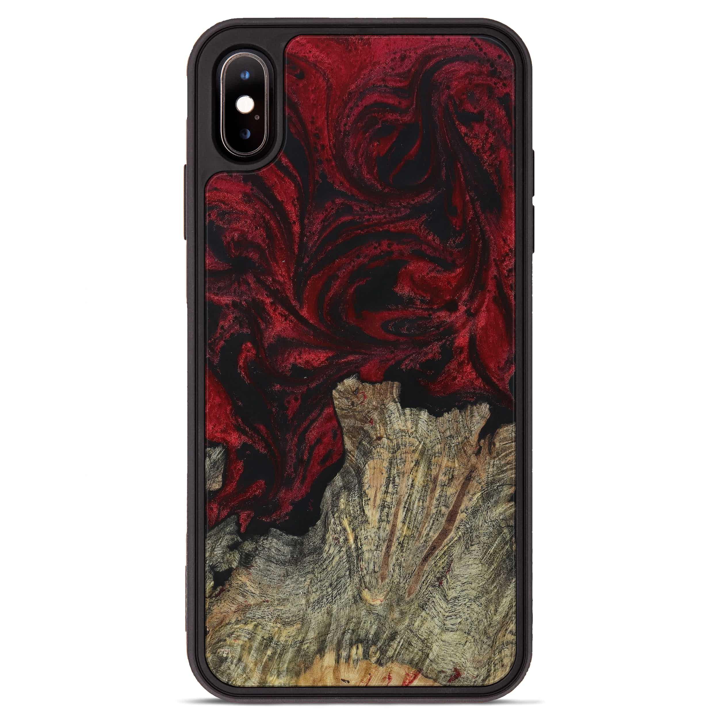 iPhone Xs Max Wood+Resin Phone Case - Augustine (Dark Red, 397328)