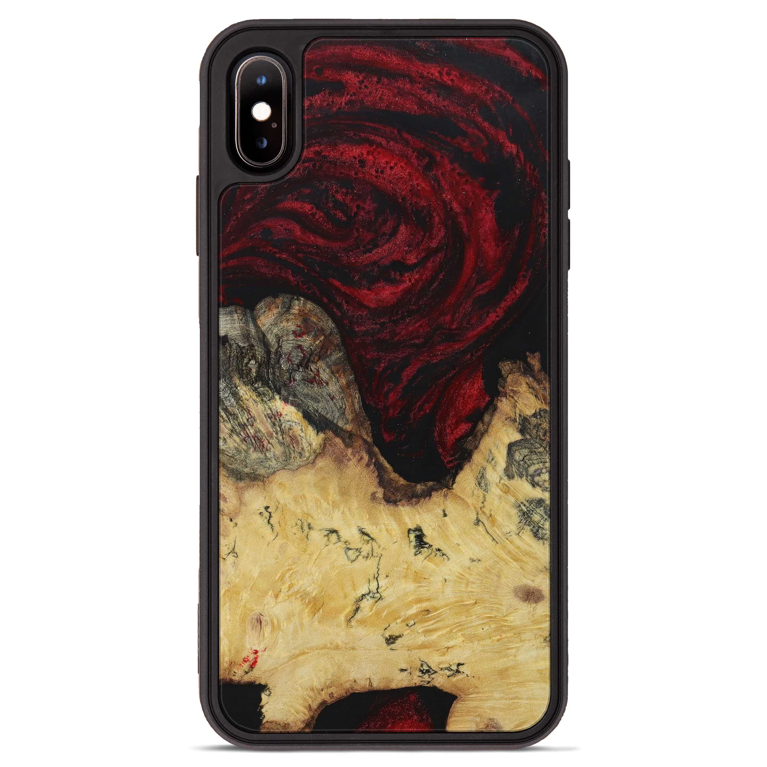 iPhone Xs Max Wood+Resin Phone Case - Andeee (Dark Red, 397330)