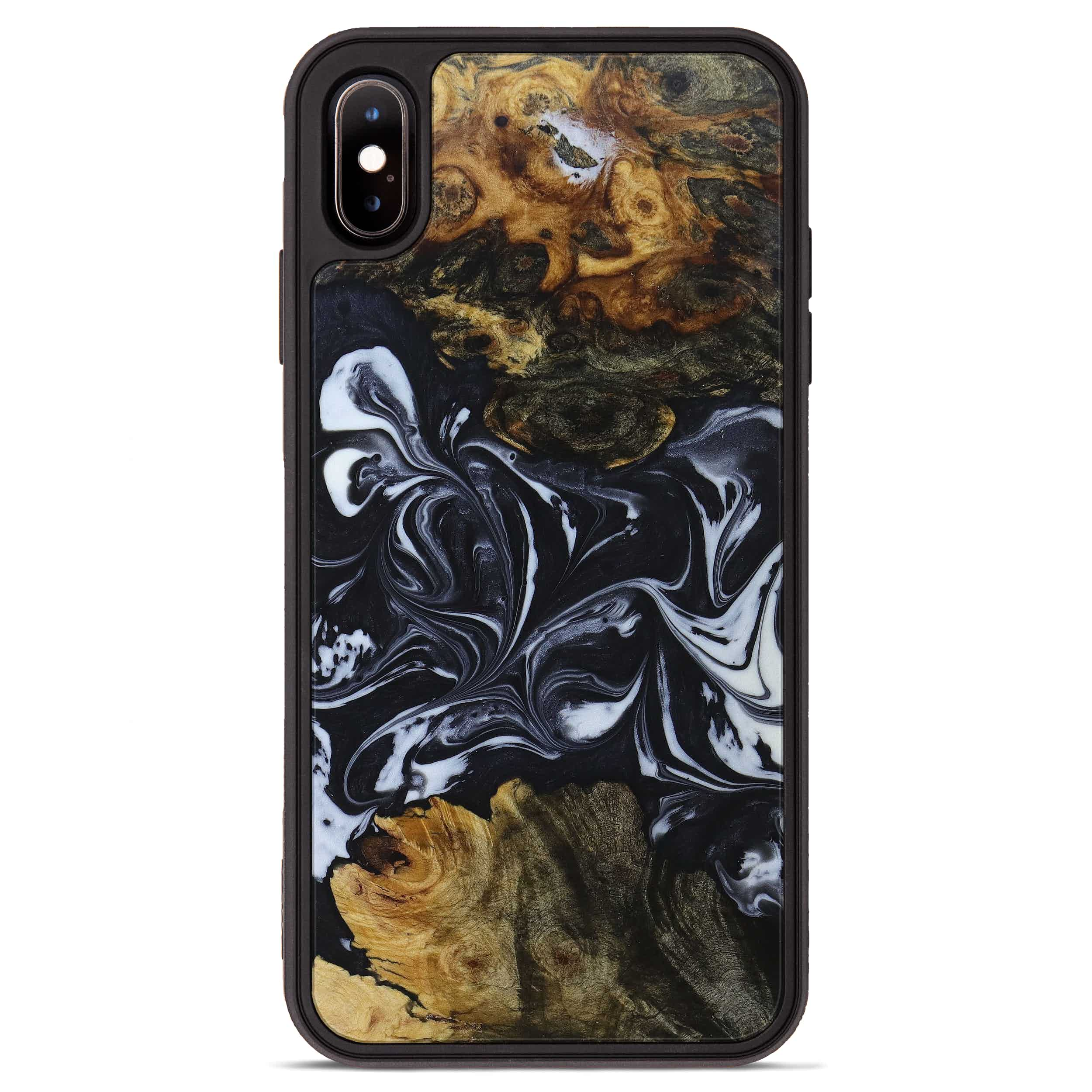 iPhone Xs Max Wood+Resin Phone Case - Winni (Black & White, 397347)