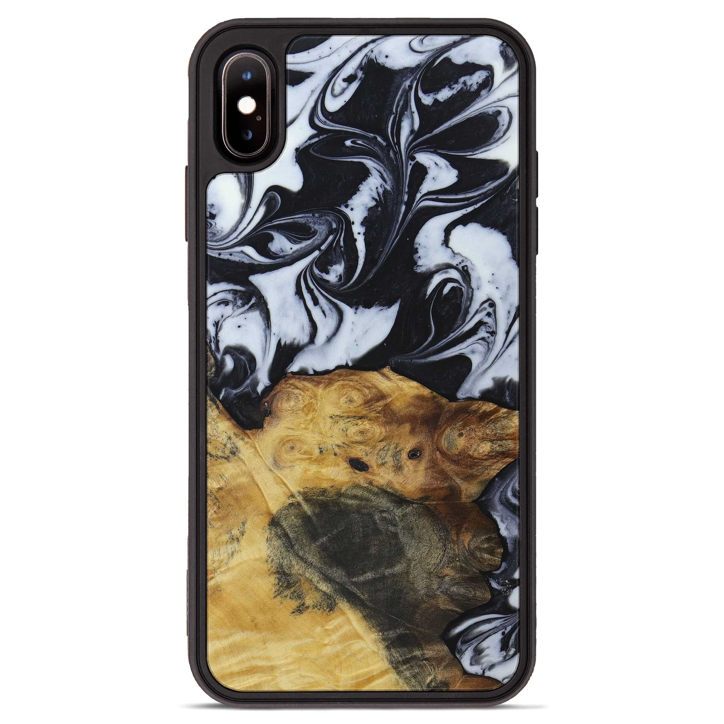 iPhone Xs Max Wood+Resin Phone Case - Olympia (Black & White, 397349)