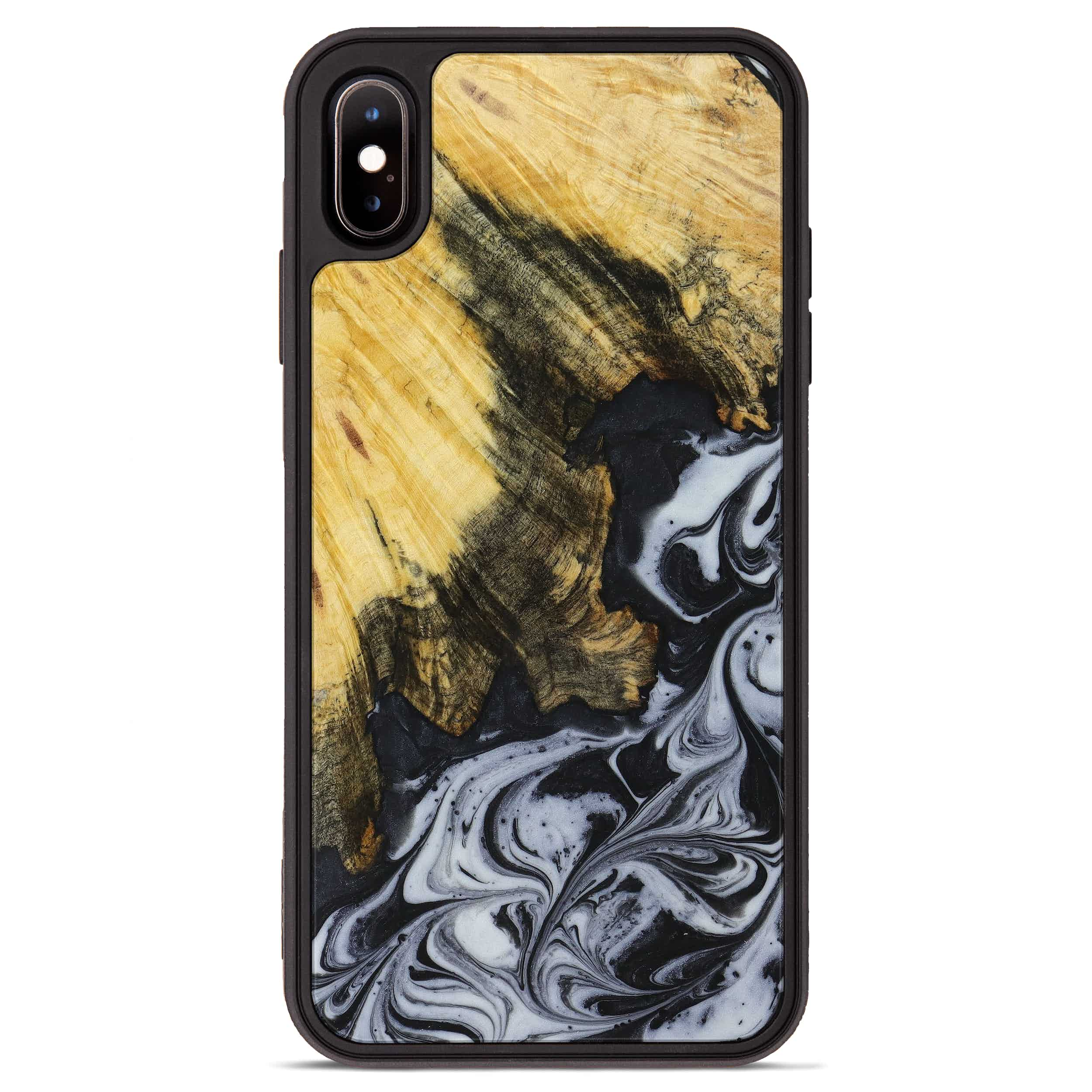 iPhone Xs Max Wood+Resin Phone Case - Rochelle (Black & White, 397353)