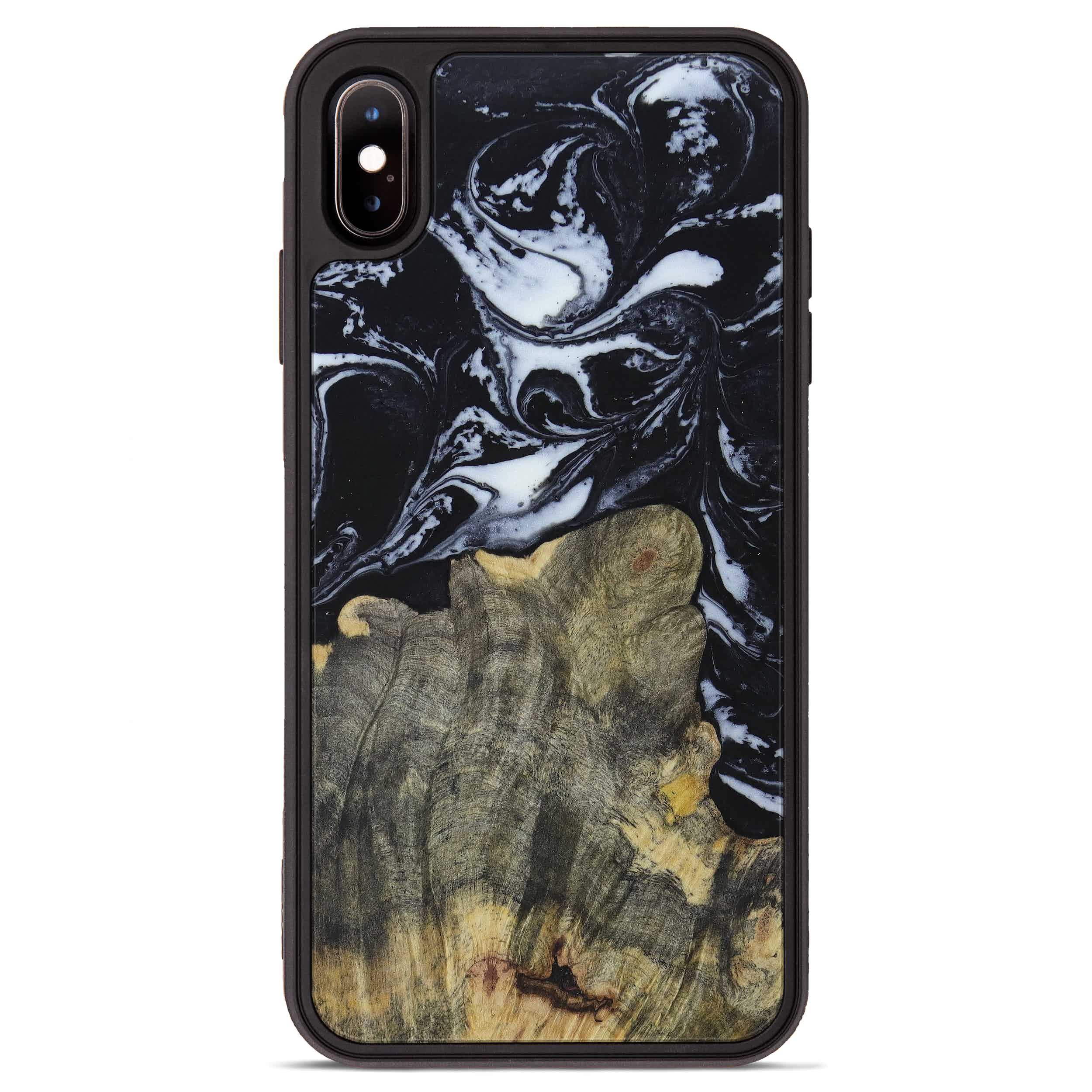 iPhone Xs Max Wood+Resin Phone Case - Faydra (Black & White, 397354)