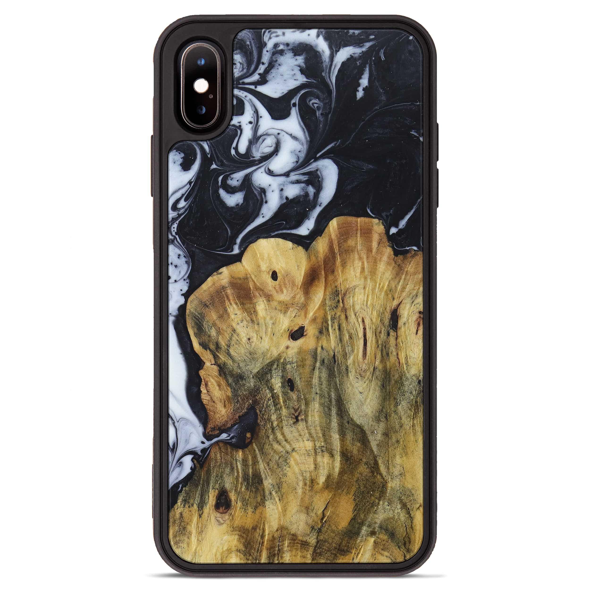 iPhone Xs Max Wood+Resin Phone Case - Fedora (Black & White, 397355)