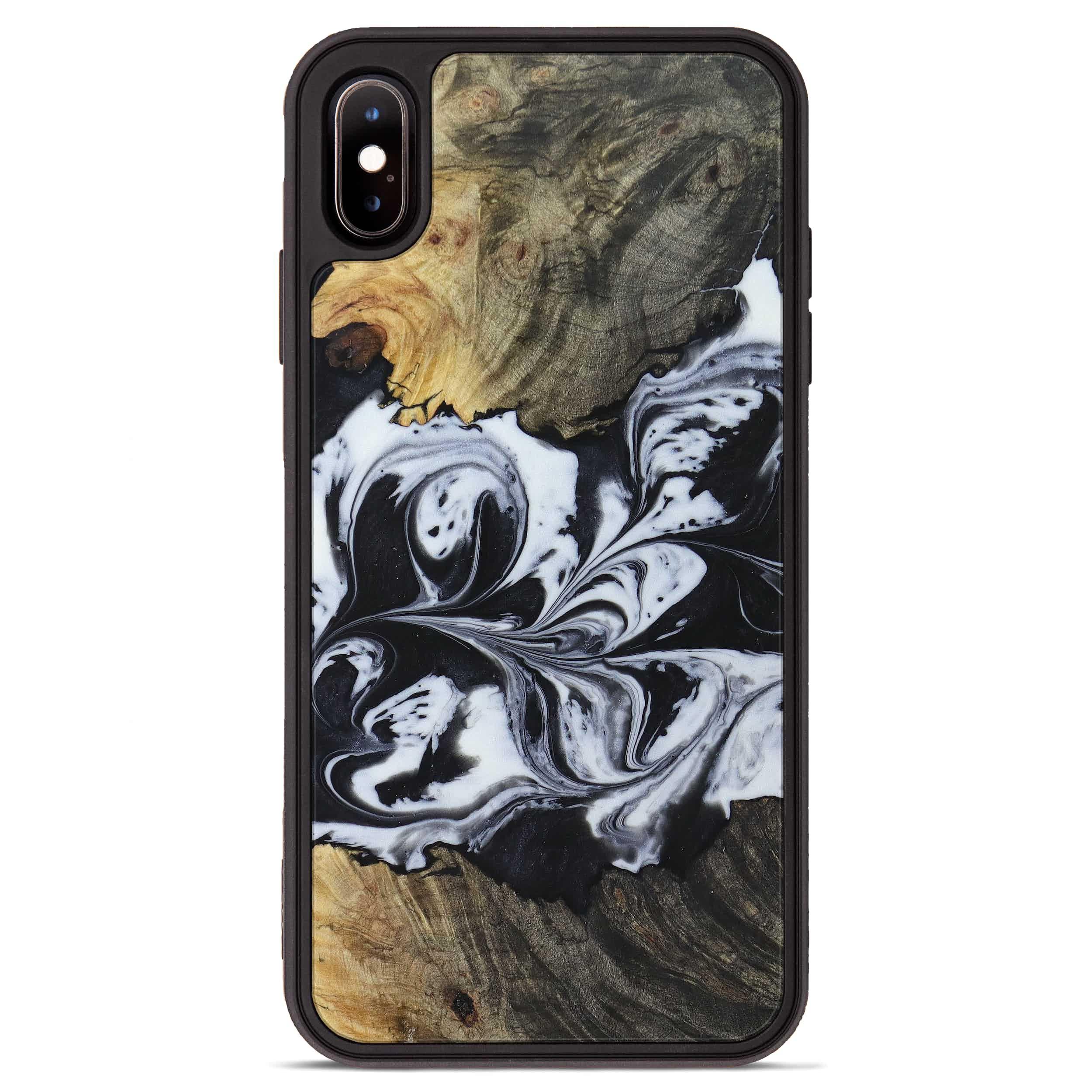 iPhone Xs Max Wood+Resin Phone Case - Monica (Black & White, 397361)