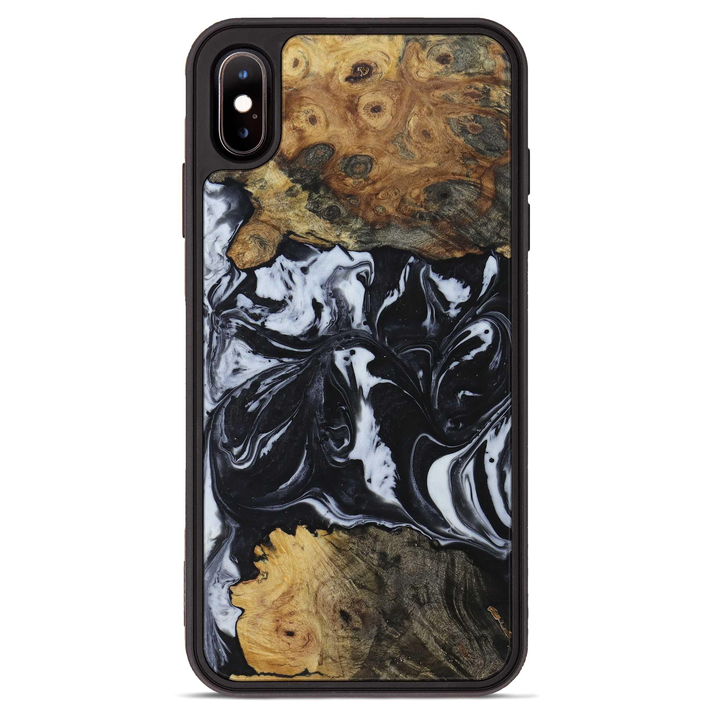 iPhone Xs Max Wood+Resin Phone Case - Pars (Black & White, 397366)