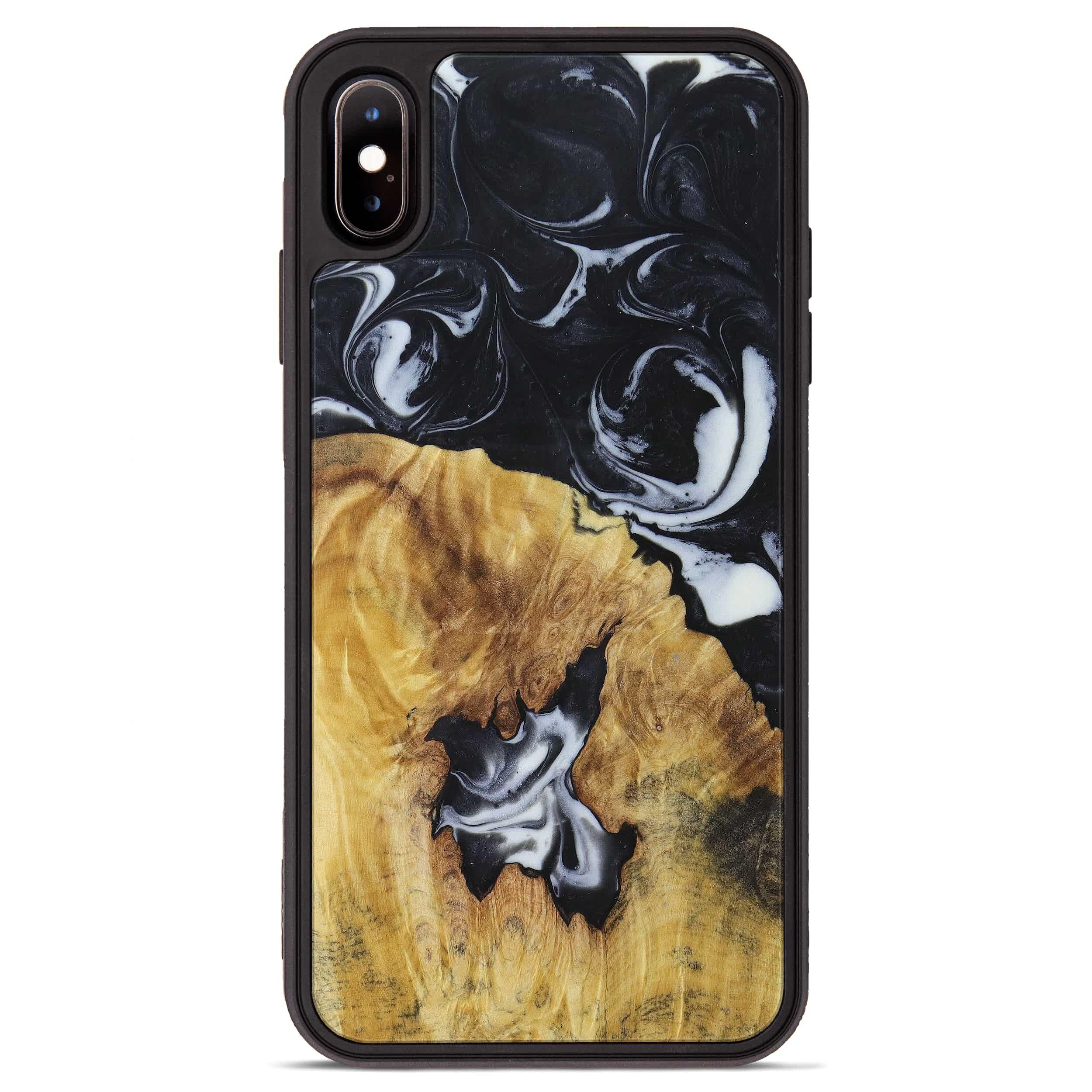 iPhone Xs Max Wood+Resin Phone Case - Imogene (Black & White, 397368)