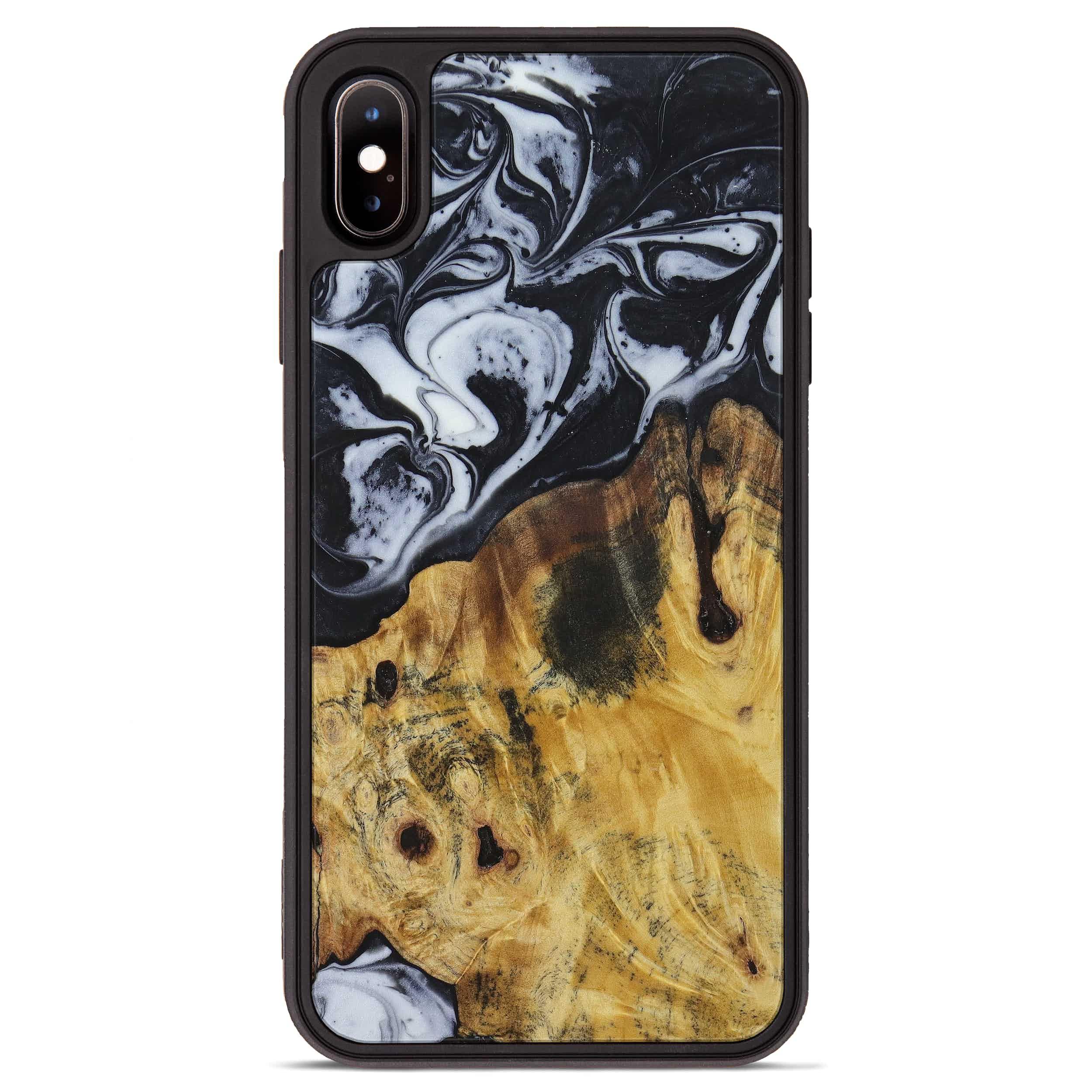 iPhone Xs Max Wood+Resin Phone Case - Dinah (Black & White, 397374)
