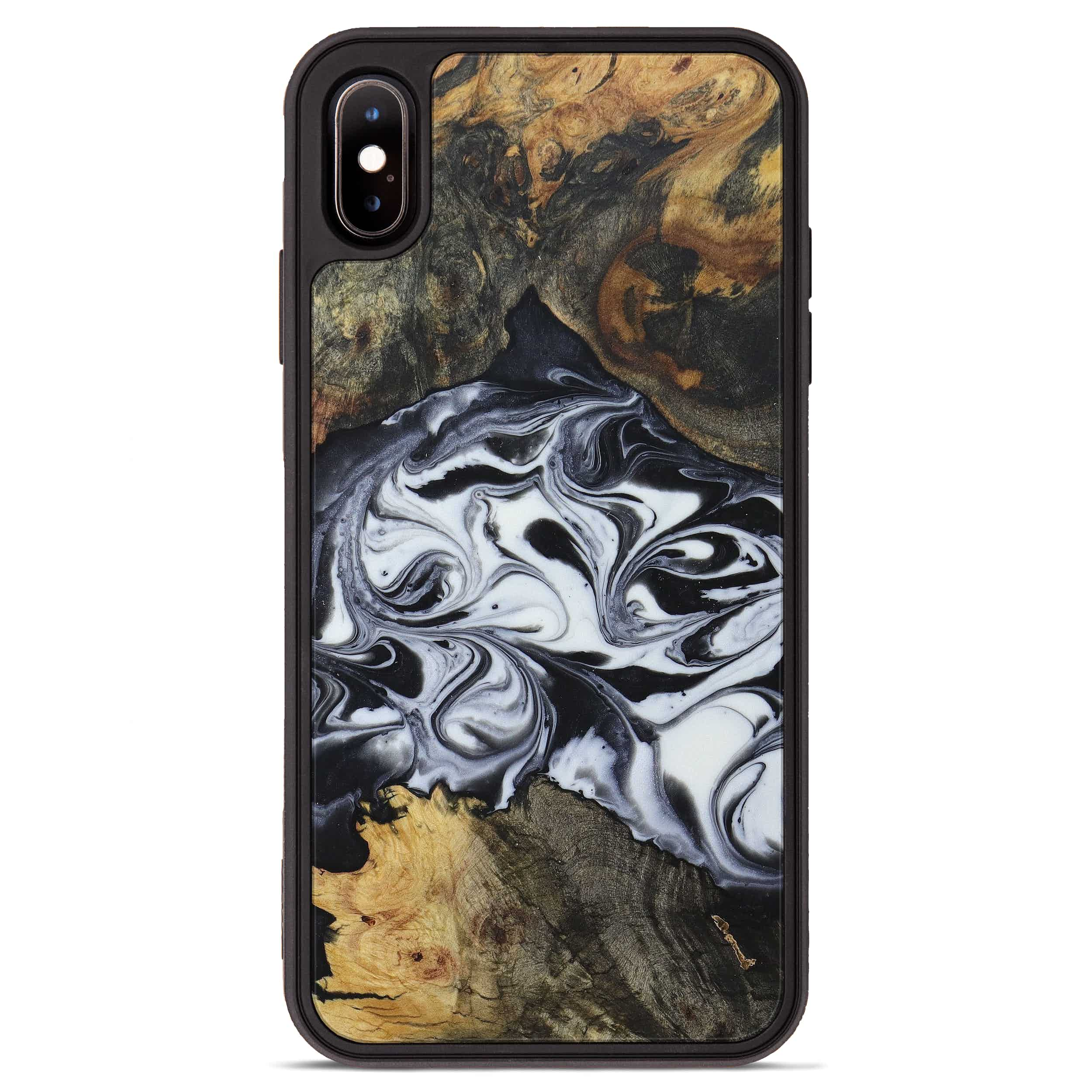 iPhone Xs Max Wood+Resin Phone Case - Weiping (Black & White, 397378)