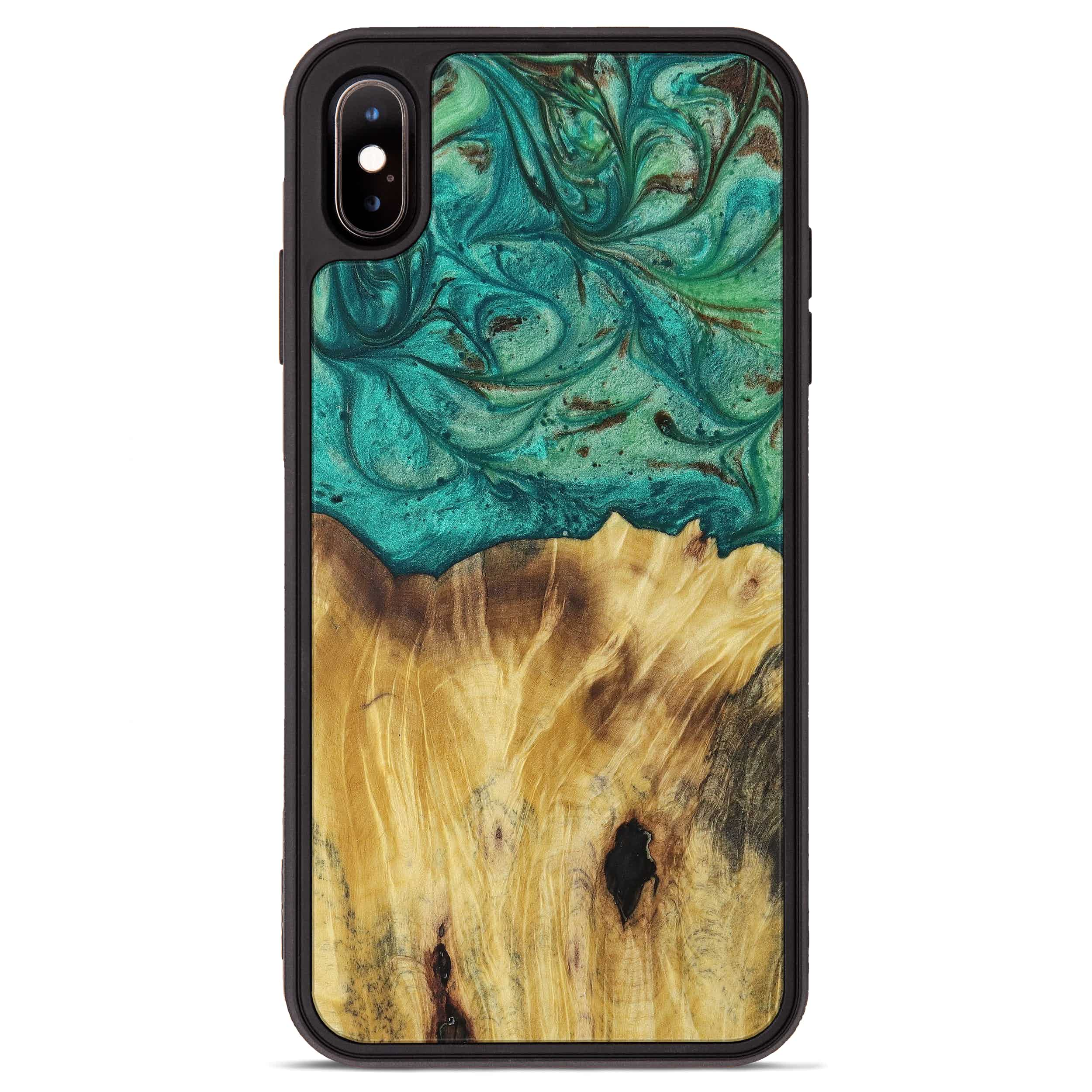 iPhone Xs Max Wood+Resin Phone Case - Tom (Dark Green, 397789)