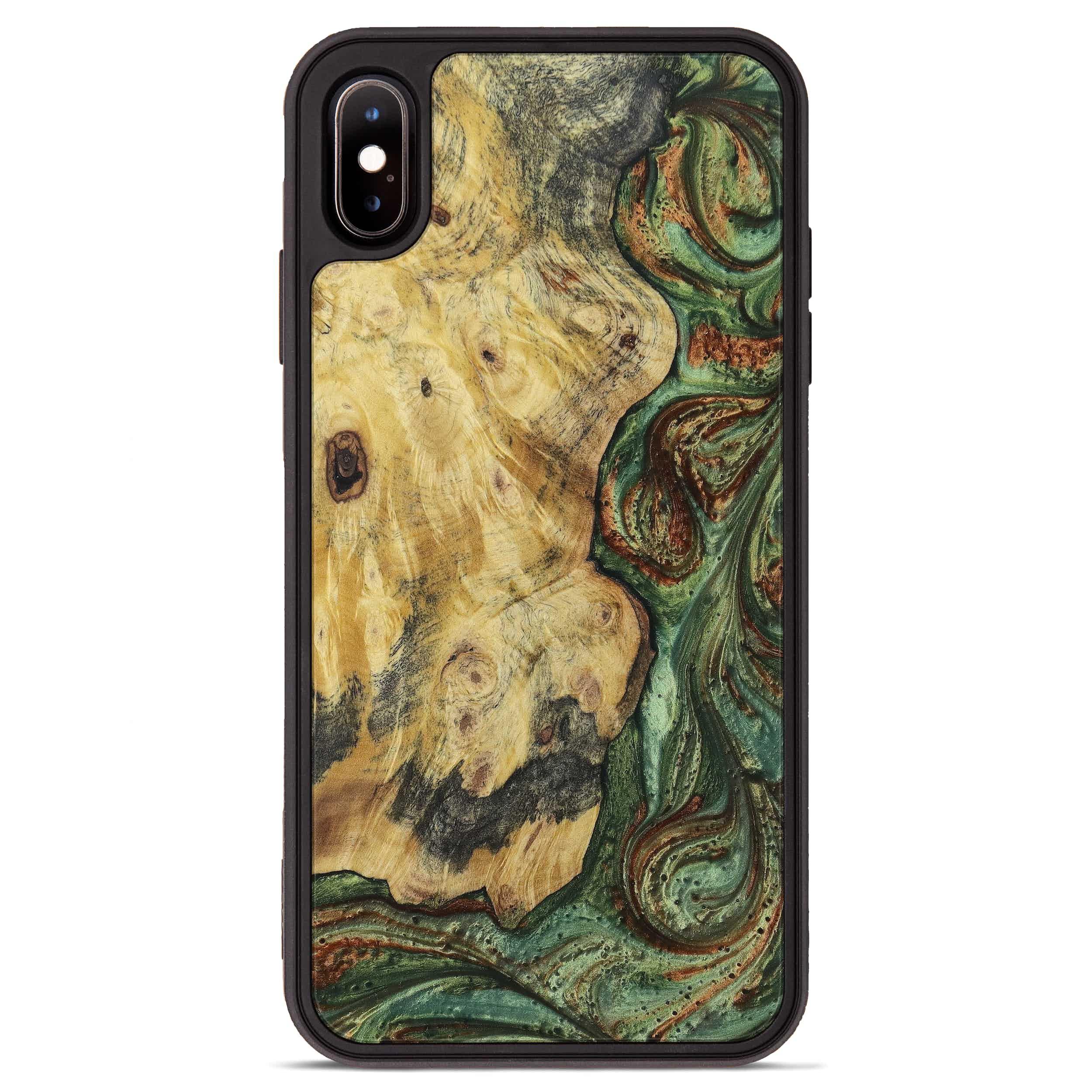 iPhone Xs Max Wood+Resin Phone Case - Tamqrah (Dark Green, 397859)