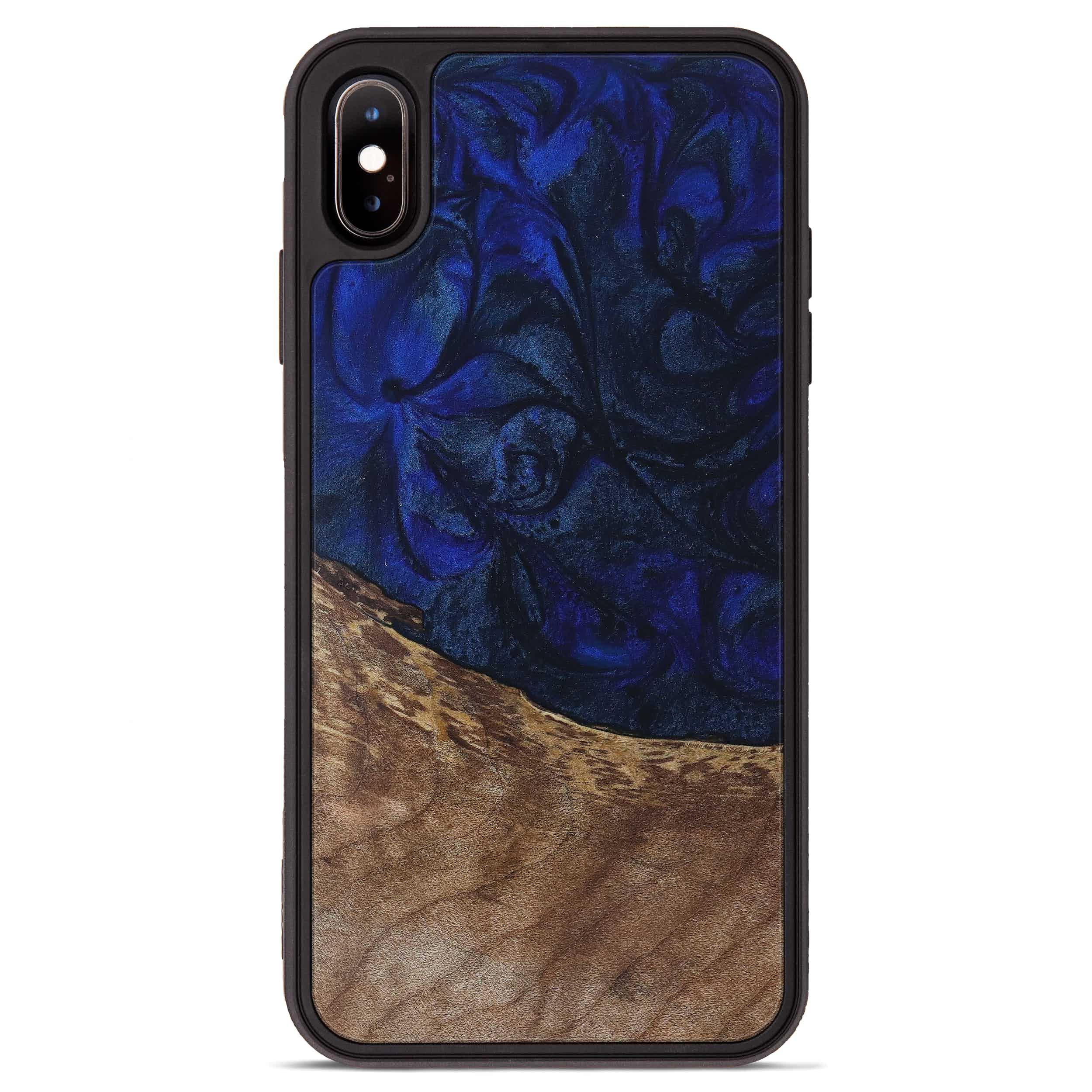 iPhone Xs Max Wood+Resin Phone Case - Xavier (Dark Blue, 397877)