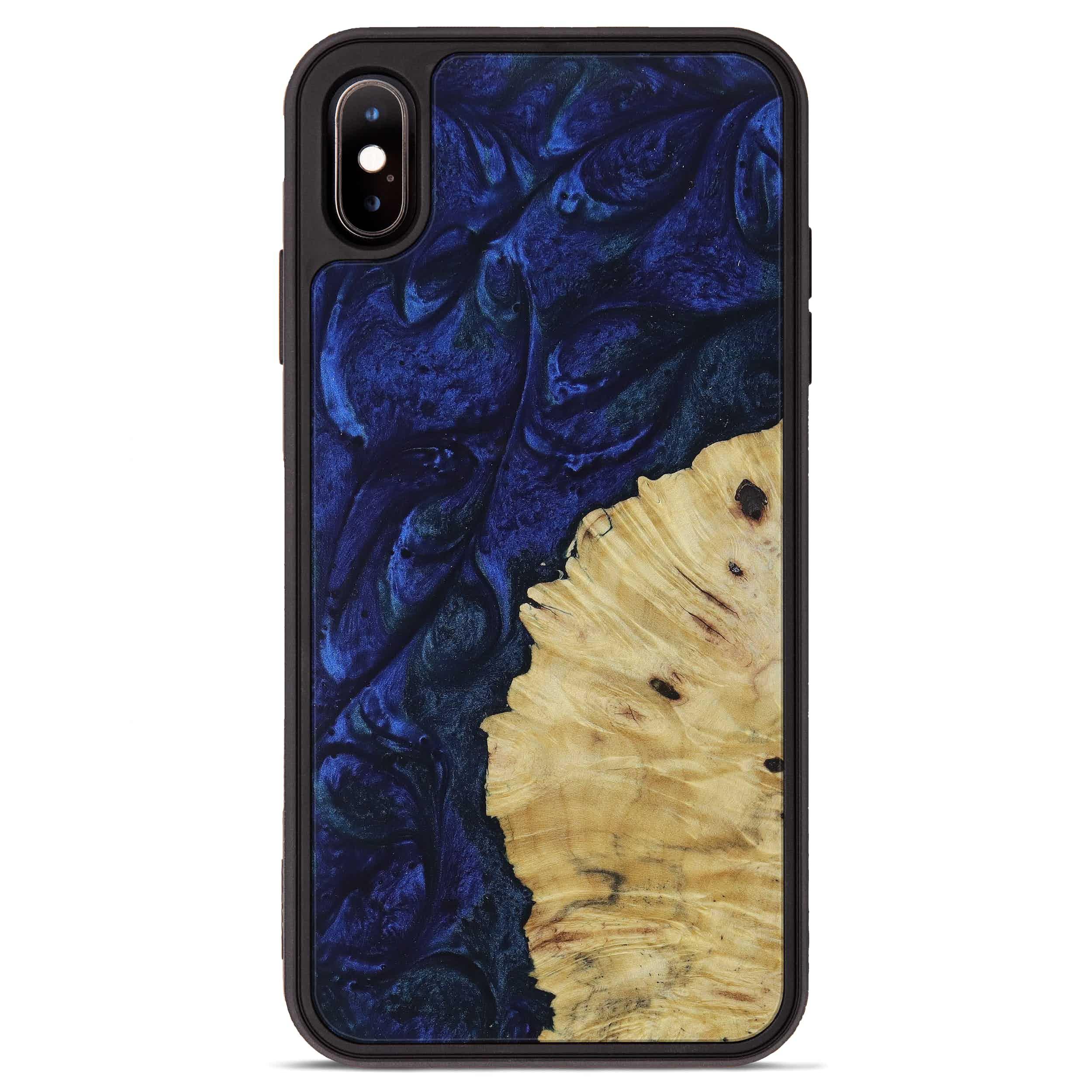iPhone Xs Max Wood+Resin Phone Case - Julissa (Dark Blue, 397879)
