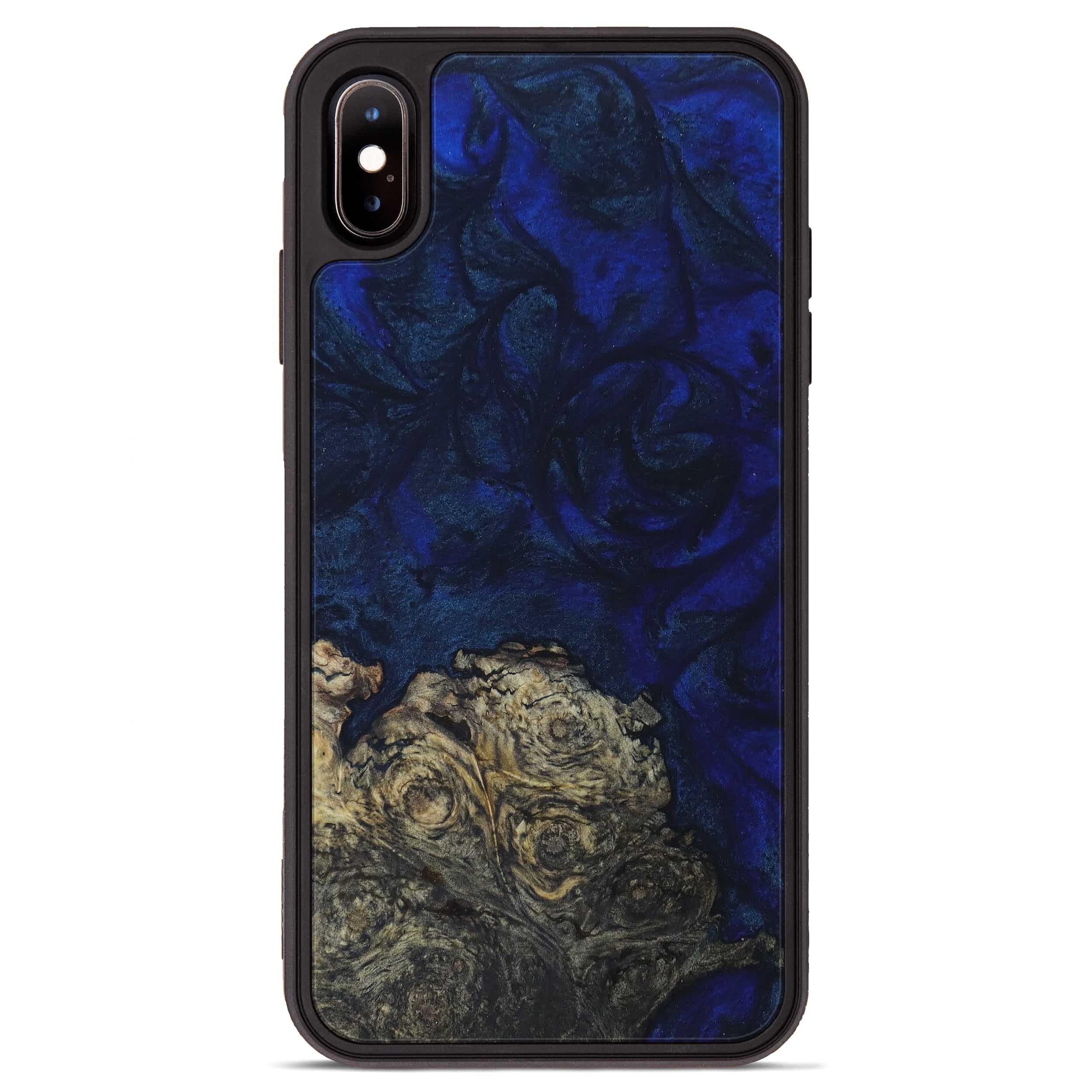 iPhone Xs Max Wood+Resin Phone Case - Leigha (Dark Blue, 397886)