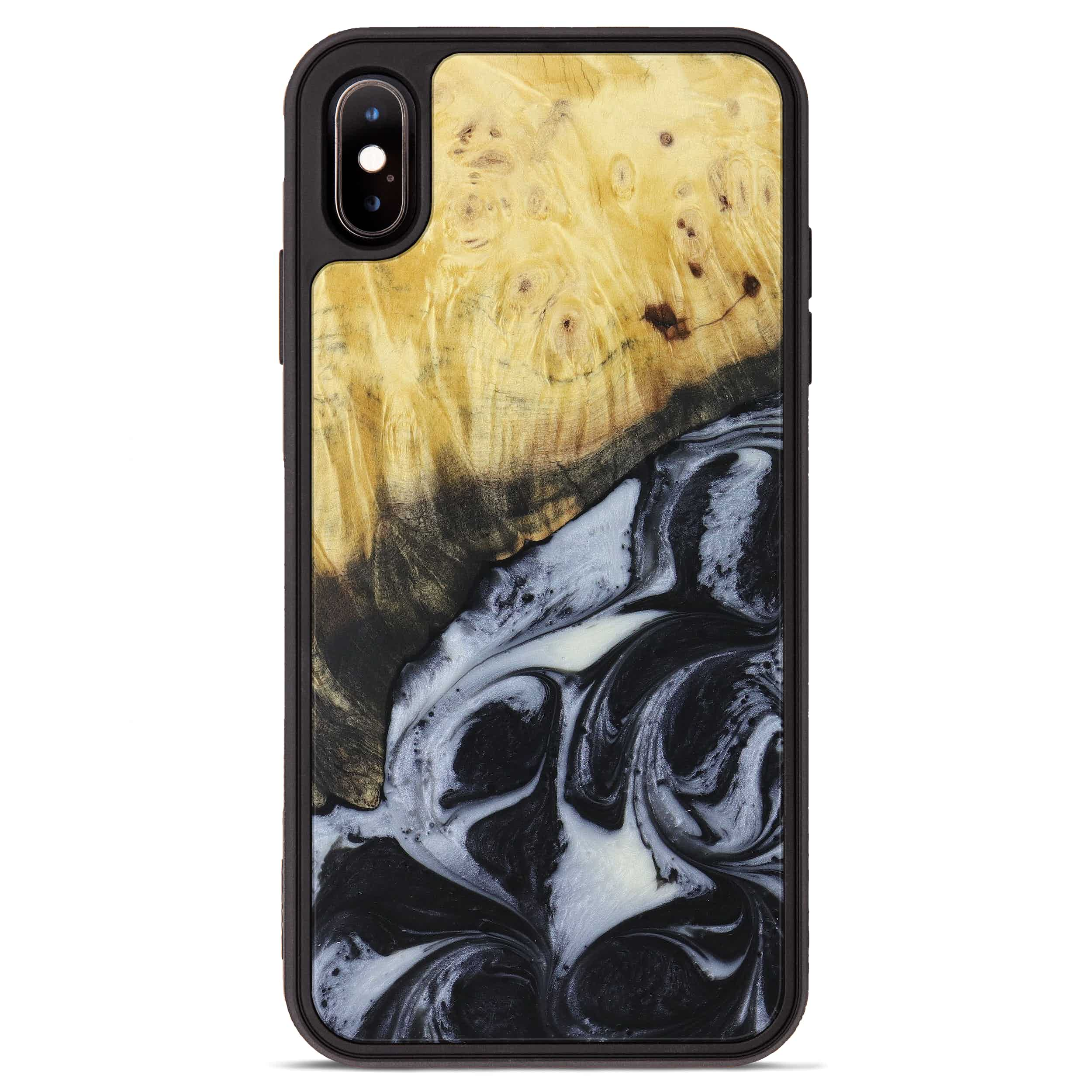 iPhone Xs Max Wood+Resin Phone Case - Jason (Black & White, 397902)