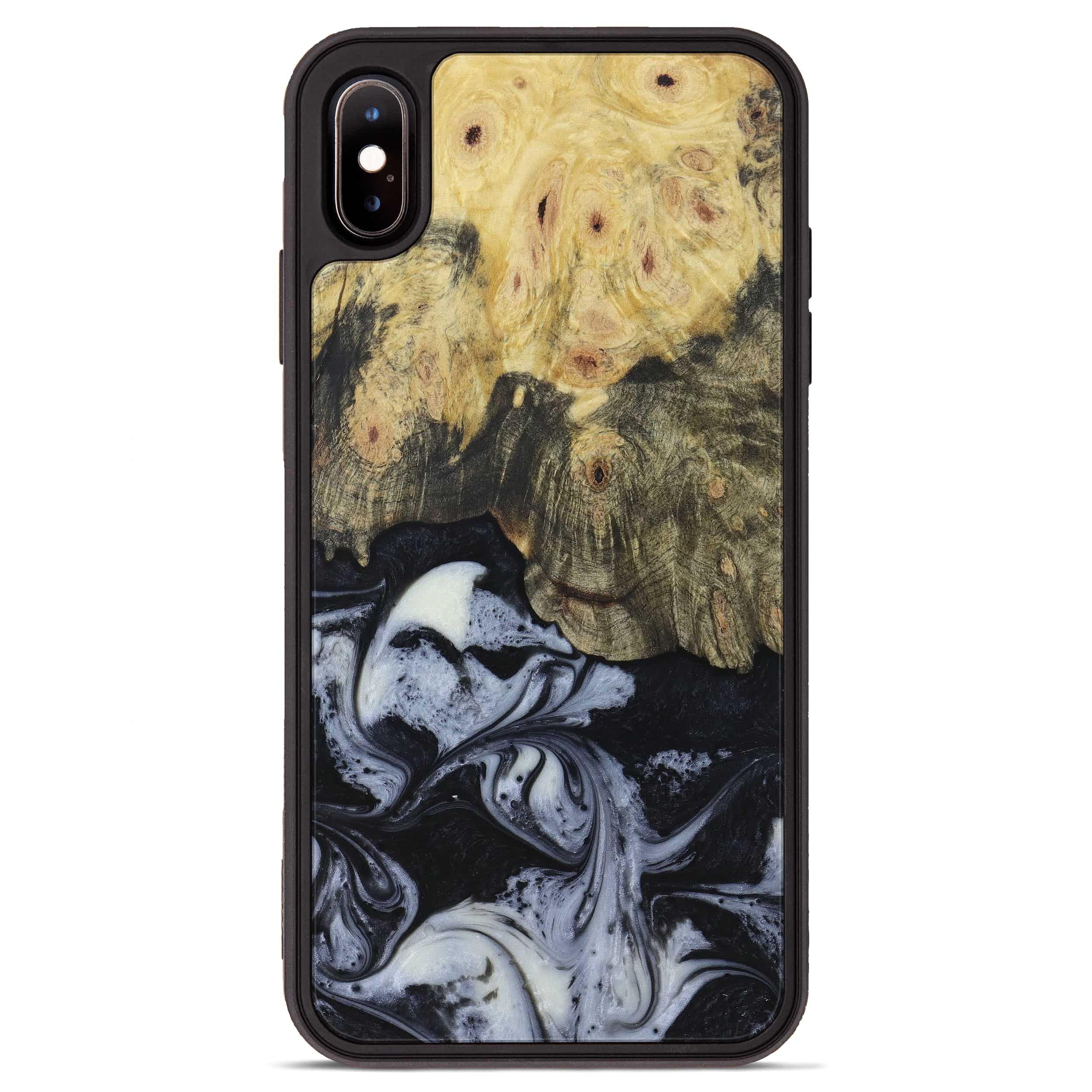 iPhone Xs Max Wood+Resin Phone Case - Rosalinda (Black & White, 397919)